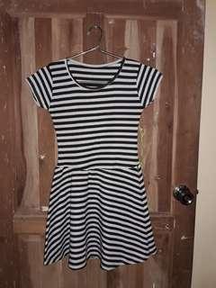 Black & Gray Striped Skater Dress