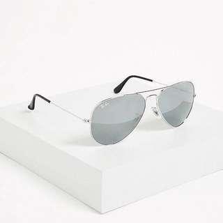 全新*Ray-Ban Aviator Silver Mirrored Sunglasses