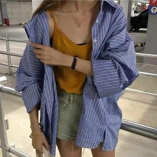🚚 韓版百搭條紋寬袖襯衫