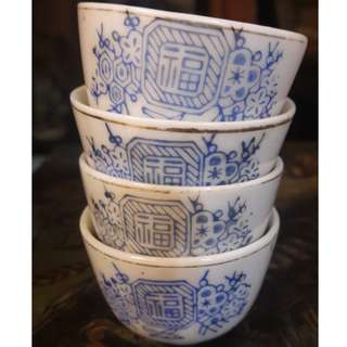Old chinese teacups handpainted
