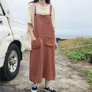 🚚 韓版純色雙口袋吊帶長裙