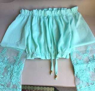 Mint Embroidered Off The Shoulder Crop Top