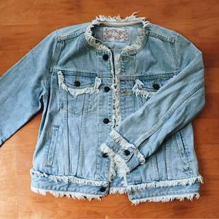 🚚 vintage古著/復古毛毛淺色牛仔外套