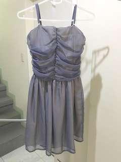 Soiree blue chiffon dress