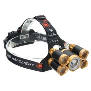 50000LM Zoomable 5x T6 LED Headlamp Head Light Lamp Flashlight Torch (Silver) - Popular