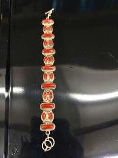 老珊瑚925銀鑲嵌手串 舊尼泊爾裝飾品