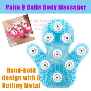 Instock Palm 9 Balls Body Massager Glove Hand Held Stress Tension Relief