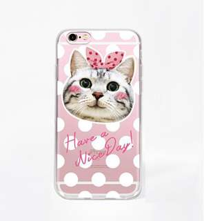 代購正版貨品) Apple iphone  6//6s、6/6s plus 粉色 蝴蝶結貓咪 包邊透明軟殼 手機殼