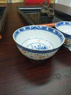 清代米通花碗