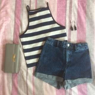 Crop top & high waist short h&m