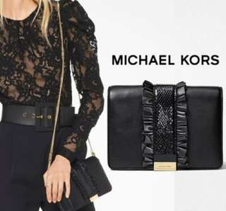 【MICHAEL KORS】Jade Ruffled Leather Clutch