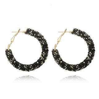 BN Elegant Hook Earrings Crystal Ear Stud Dangle Hoops [MJN29]