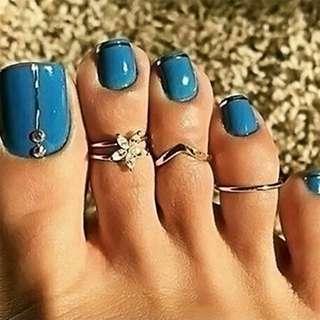 BN 3PCs/set Silver Daisy Beach Punk Style Toe Ring [MJN31]