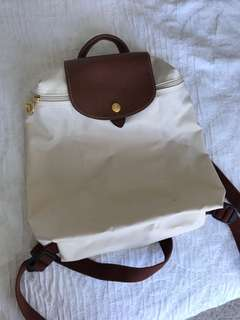 Authentic white longchamp backpack