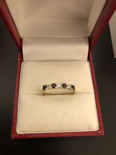 Authentic 10K Yellow Gold Diamond + Sapphire Ring