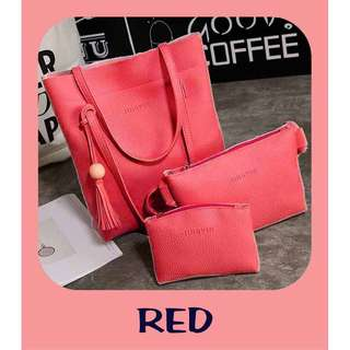PU Leather 3 in 1 Women Sling bag Handbag Hangbag Tote Purse Pouch Clutch Bag