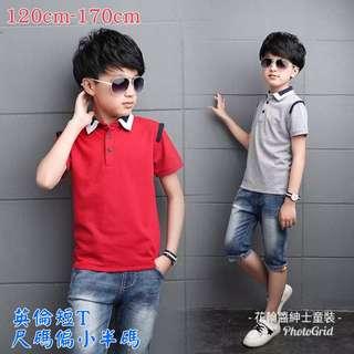 🚚 紅色/灰色中大童短T男童短袖t卹polo衫兒童夏裝男純棉翻領半袖上衣潮中大童裝5-13歲