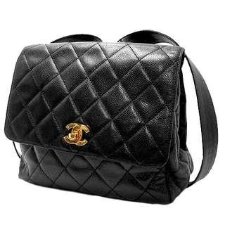 Vintage Chanel黑色魚子醬菱格金扣背包backpack 24x22x8.5cm