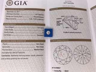 清貨 GIA証 1.53卡 K色 I1  EX/VG/VG  MB 僅售$34600。設18K鑲嵌