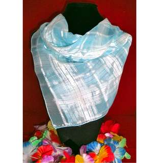 Baby Blue Plaid Square Scarf