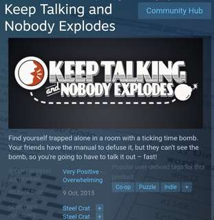 [Clearance Sale] Steam - Keep Talking And Nobody Explodes Game