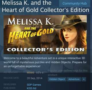 [Clearancd Sale] Steam - Melissa.K and The Heart of Gold Collectors Edition