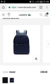 Lacoste Chantaco Matte Piquè Leather Bagpack