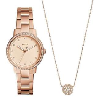 BRAND NEW FOSSIL WATCH Set with Necklace