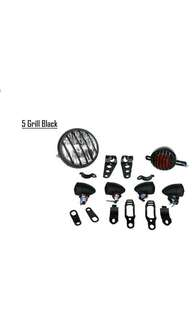 Motorbike/ Caferacer Headlight/ Lamp 5 Grill Black Pack