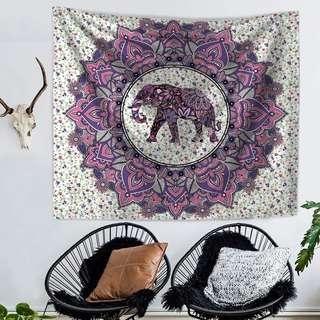 Large Elephant Printed Mandala Tapestry