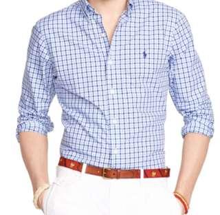🚚 BN Ralph Lauren Long Sleeve Business Shirt in Blue Checkered