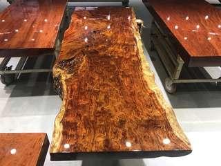 live edge Bubinga slab table top for tea table