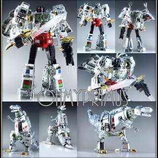 Reximus Prime - Transformers KO Oversize Masterpiece MP-8 MP8 Grimlock - Silver Chrome Version