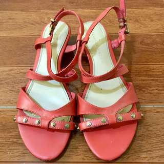 Authentic Charles & Keith Orange Sandals Wedge