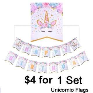 Brand new Unicorn Happy Birthday flag bunting