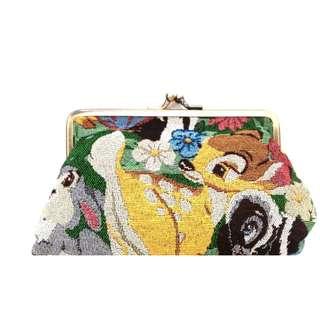Last Piece Ready Stock Tokyo Disney Resort Disneyland Disneysea Embroidery Woven Bambi Pouch with clip