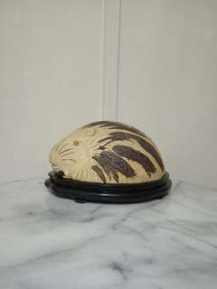 80s Porcupine Pig Perfect Condition + Wood Stand
