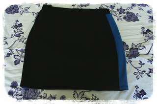 F21 Knit Mini Skirt with Blue Stripe