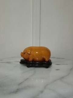 Old Ceramic pig With Wooden Stand