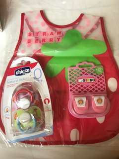 Pacifier, diaper clipper and bib