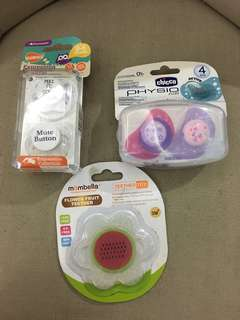 Pacifiers and teether- various brands brand new!