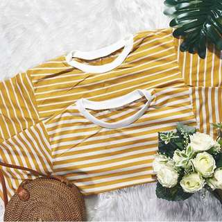 Mustard Stripes Vintage Tee