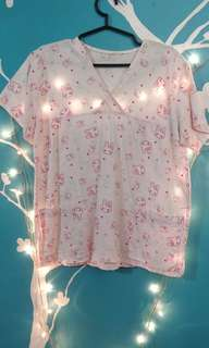 Scrub Suit Pink Bunny Print Medium