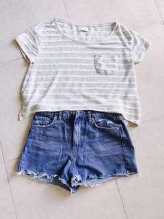 🚚 A&F夏天針織條紋短版上衣僅穿過一次