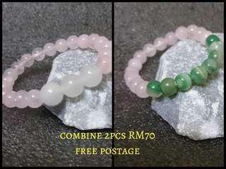 Handmade Bracelet Green Agate and Pink Quartz