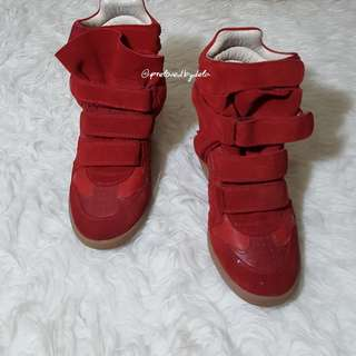 Isabel Marant Red Suede Wedges Boots