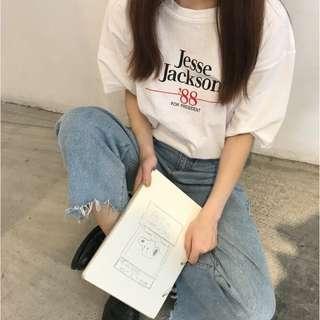 韓版短袖字母文青風上衣