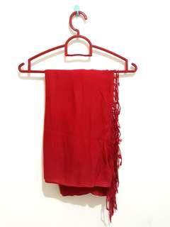 Preloved Pashmina Kashmir Polos Merah Burgundy