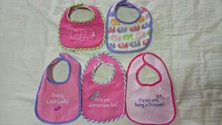 Pre-loved bibs for baby girl feeding
