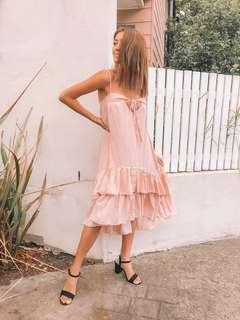 // Indii house - pink layered ruffle dress